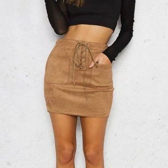 Diva's Cloest Dresses & Skirts - Leather Suede Lace Up Skirt  (Khaki/Brown)